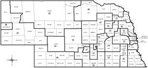 Nebraska Statewide black and white outline map